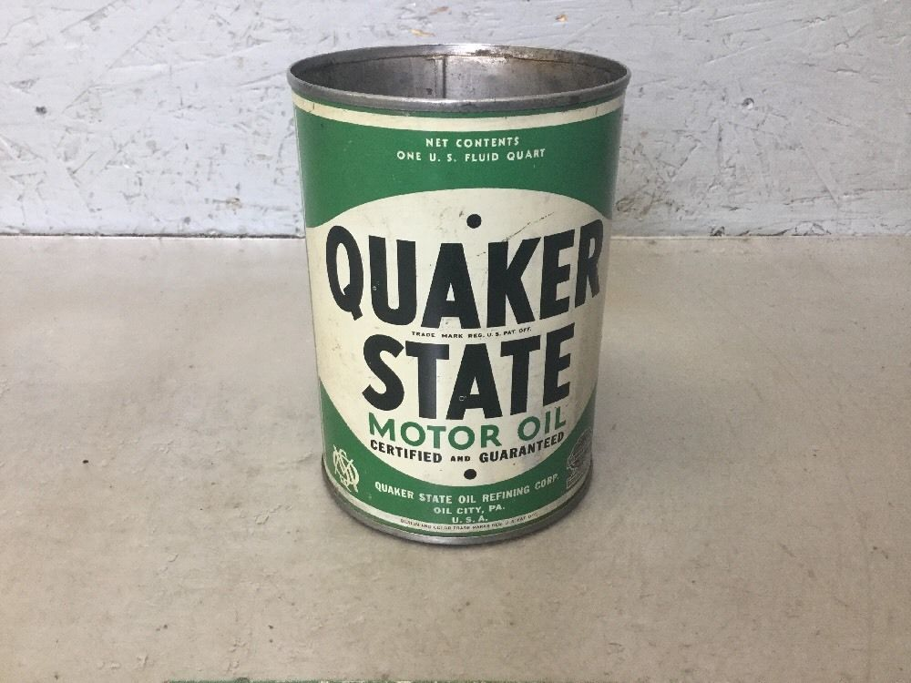Piston Index - Quaker State Motor Oil Can Vintage One Quart Empty. Collectible