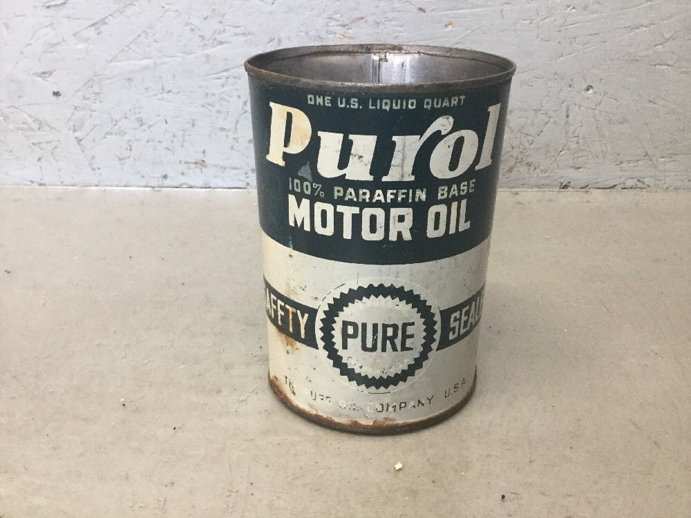 Piston Index - Pure Oil Company Purol Motor Oil Can Empty One Quart Collectible Vintage
